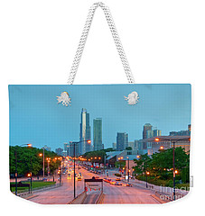 A View Of Columbus Drive In Chicago Weekender Tote Bag
