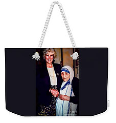 Weekender Tote Bag featuring the digital art A Vist With Mother Teresa by Kathy Tarochione