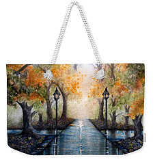 Weekender Tote Bag featuring the painting A Walk In The Park - Autumn by Janine Riley