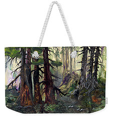 Weekender Tote Bag featuring the painting A Walk In The Woods by Sherry Shipley