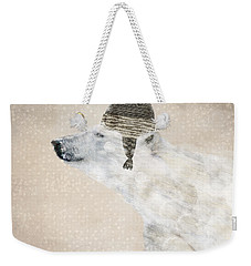 Weekender Tote Bag featuring the painting A Warm Polar Bear by Bri B