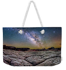 A White Pocket Nightscape Weekender Tote Bag