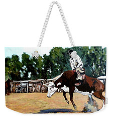 Weekender Tote Bag featuring the painting A Whole Lot Of Bull by Tom Roderick