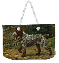 A Wire-haired Pointing Griffon Holds Weekender Tote Bag