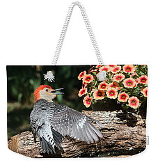 A Woodpecker Conversation Weekender Tote Bag by Sheila Brown