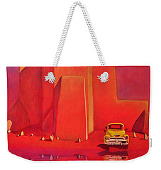 Weekender Tote Bag featuring the painting A Yellow Truck With A Red Moon In Ranchos by Art West