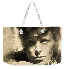 Weekender Tote Bag featuring the digital art A Young David Bowie by Anthony Murphy