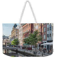Weekender Tote Bag featuring the photograph Aarhus Afternoon Canal Scene by Antony McAulay