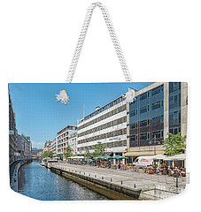 Weekender Tote Bag featuring the photograph Aarhus Canal Activity by Antony McAulay