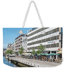 Weekender Tote Bag featuring the photograph Aarhus Canal Scene by Antony McAulay