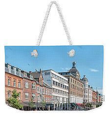Weekender Tote Bag featuring the photograph Aarhus Summertime Canal Scene by Antony McAulay