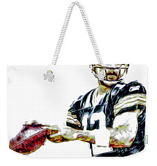 Aaron Rodgers Green Bay Packers Painted Weekender Tote Bag by David Haskett