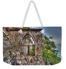 Weekender Tote Bag featuring the photograph Abandoned Places Iron Gate Over The Sea - Cancellata Sul Mare by Enrico Pelos