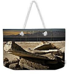 Weekender Tote Bag featuring the photograph Abandoned Ruins On The Eastern Shore Of The Salton Sea by Randall Nyhof