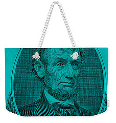 Weekender Tote Bag featuring the photograph Abe On The 5 Aqua Blue by Rob Hans