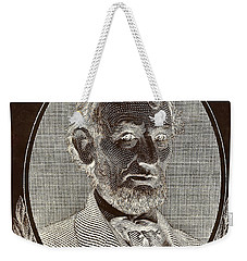 Weekender Tote Bag featuring the photograph Abe On The 5 B W Inverted Brown by Rob Hans