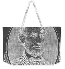 Weekender Tote Bag featuring the photograph Abe On The 5 B W Inverted by Rob Hans
