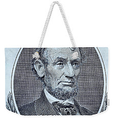 Weekender Tote Bag featuring the photograph Abe On The 5 Cyan by Rob Hans