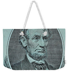 Weekender Tote Bag featuring the photograph Abe On The 5 Lite Blue by Rob Hans