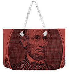 Weekender Tote Bag featuring the photograph Abe On The 5 Peach by Rob Hans