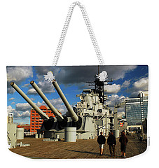 Weekender Tote Bag featuring the photograph Aboard The Uss Wisconsin by James Kirkikis