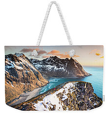 Above The Beach Weekender Tote Bag by Alex Conu