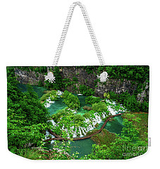 Above The Paths And Waterfalls At Plitvice Lakes National Park, Croatia Weekender Tote Bag