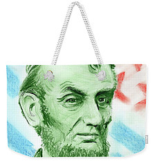 Weekender Tote Bag featuring the drawing Abraham Lincoln  by Yoshiko Mishina