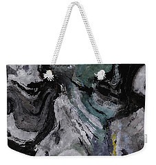 Weekender Tote Bag featuring the painting Abstract And Minimalist Acryling Painting In Gray Color by Ayse Deniz