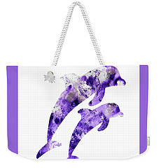 Abstract Art Purple Dolphins Weekender Tote Bag
