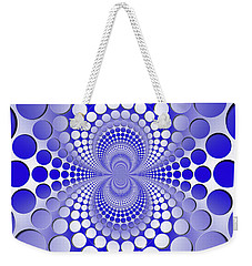 Abstract Blue And White Pattern Weekender Tote Bag by Vladimir Sergeev