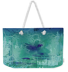 Weekender Tote Bag featuring the digital art Abstract Blue Green by Robert G Kernodle