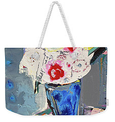 Abstract Blue Vase Of White Bouquet Of Flowers Weekender Tote Bag by Amara Dacer