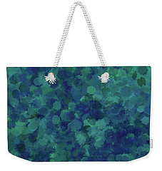 Weekender Tote Bag featuring the mixed media Abstract Blues 1 by Clare Bambers