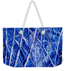 Abstract Blues Encaustic Weekender Tote Bag
