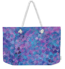 Weekender Tote Bag featuring the mixed media Abstract Blues Pinks Purples 3 by Clare Bambers