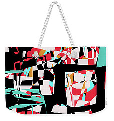 Weekender Tote Bag featuring the digital art Abstract Boxes by Jessica Wright