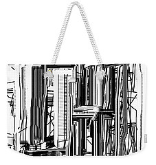 Weekender Tote Bag featuring the digital art Abstract City #2 by Jessica Wright
