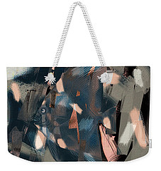 Weekender Tote Bag featuring the digital art Abstract Cube Fish With Overbite by Nola Lee Kelsey