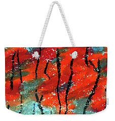 Abstract Design Red Trees Fall Art Weekender Tote Bag by R Kyllo