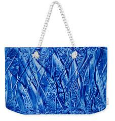 Abstract Encaustic Blues Weekender Tote Bag