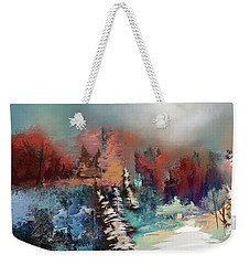 Abstract Fall Landscape Painting Weekender Tote Bag