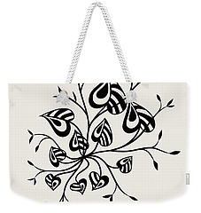 Abstract Floral With Pointy Leaves In Black And White Weekender Tote Bag