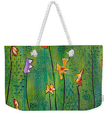 Abstract Flowers Orange, Purple Weekender Tote Bag