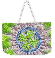 Weekender Tote Bag featuring the digital art Abstract Fractal Art Greenery Rose Quartz Serenity by Matthias Hauser
