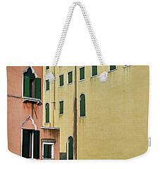 Weekender Tote Bag featuring the photograph Abstract Geometric Venetian Buildings In Yellow And Peach by Brooke T Ryan