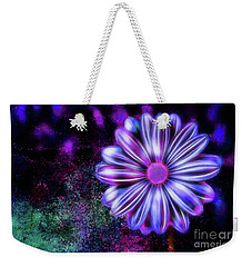 Abstract Glowing Purple And Blue Flower Weekender Tote Bag