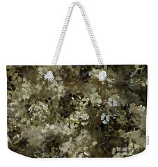 Weekender Tote Bag featuring the mixed media Abstract Gold Black White 5 by Clare Bambers