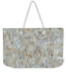 Weekender Tote Bag featuring the mixed media Abstract Gold Cream Beige 6 by Clare Bambers