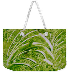 Abstract Green And White Leaves And Grass Weekender Tote Bag